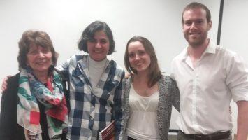 Ana Lúcia Brasil, coordenadora da CT Saúde e Saneamento em Comunidades Isoladas; a educadora ambiental Renata Ferraz de Toledo; Olívia Gavioli e Thomas Ficarelli, integrante e coordenador do JPS-SP, respectivamente.
