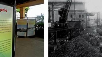 À direita, pátio da Casa das Retortas, local de queima do carvão mineral para a produção de gás, no Brás. 1900