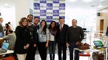 Jovens Profissionais do Saneamento, o diretor Antonio Carlos Lino e o gerente institucional da ABES-SP, Ricardo Ribeiro